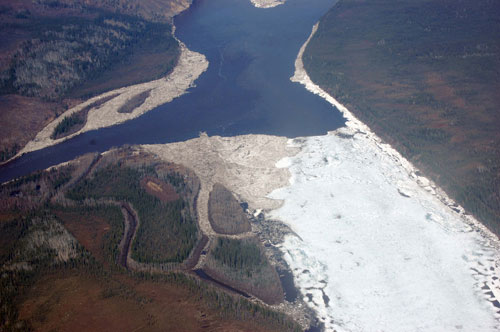 May 2009 was another period of serious flood and ice damage. When a powerful wave of ice moving down the Yukon River met the open water of the Fortymile River, large ice blocks were forced onto the town site bulldozing some of the historic buildings.