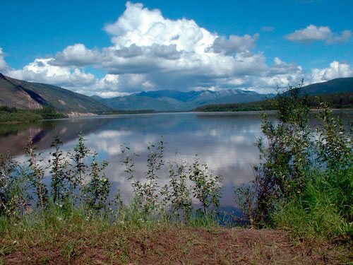 Summer view of the Cloudy Range at the confluence of the Yukon and Fortymile rivers.