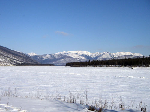 Winter view of the Cloudy Range at the confluence of the Yukon and Fortymile rivers.