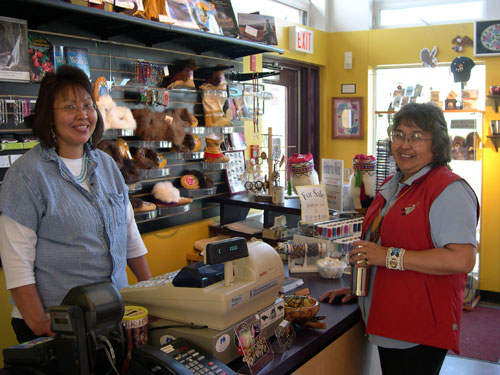 Majida Lord and Freda Roberts in the Gift Shop.