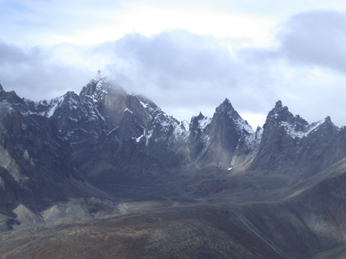 The peaks of the dramatic Tombstone Range.