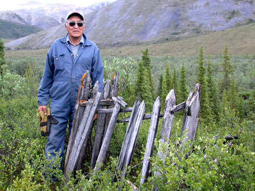 Robert Alexie by a grave fence in the Blackstone Uplands.