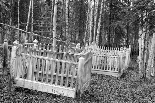 Part of the Forty Mile cemetery in the late 1970s.