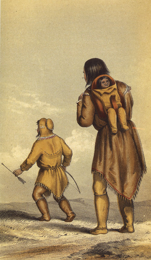 Hudson's Bay Company trader and artist, Alexander Hunter Murray, made this painting of a Gwich'in family on the move about the late 1840s.