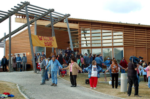 Ceremony welcoming residential school survivors during the landmark exhibits on Residential Schools, May 2007.