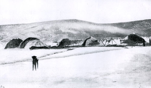 First Nations camp on the Yukon River ice near Forty Mile, winter of 1895-96.