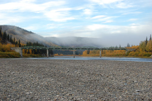 Klondike River Bridge, built in 1962, spans the Klondike River at the southern end of the Dempster Highway.