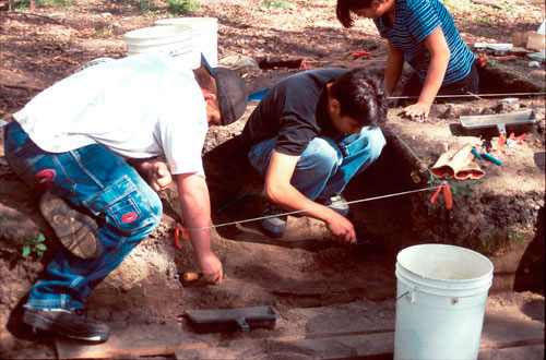 Archaeology crew in 2000. L-R: Kyle Isaac, R.J. Nagano and Randi Henry.