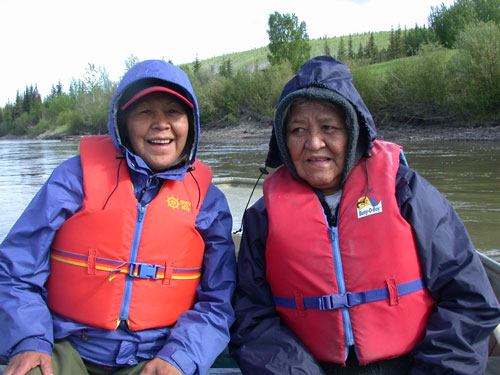 The best way to travel to Forty Mile is by river. Elders Julia Morberg and Peggy Kormendy.