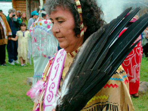 Elder Doris Roberts at the Moosehide Gathering in 2002. Tr'ondëk Hwëch'in hosts this event every two years to celebrate their culture and renew relationships with other First Nations.