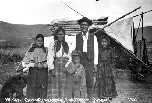 Chief Alexander and his family at Forty Mile, 1901.